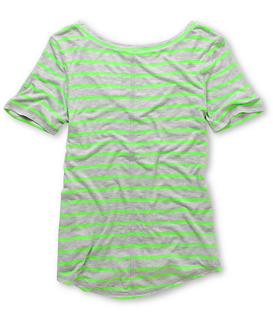 A Fine Mess Meringue Green Neon Stripe V-Neck T-Shirt