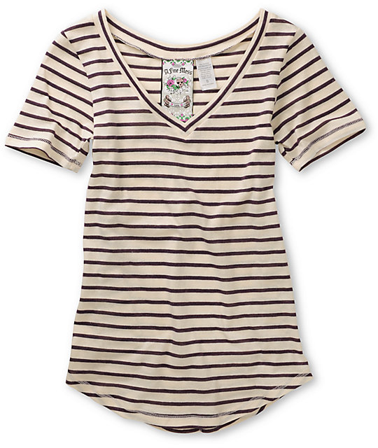 A Fine Mess November White & Purple Stripe V-Neck T-Shirt