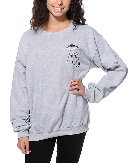 910ece9ff395 A-Lab Abduction Cat Crew Neck Sweatshirt