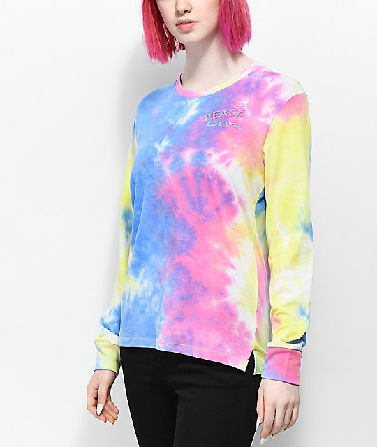 A-Lab Aby Peace Out Multi Tie Dye Long Sleeve T-Shirt