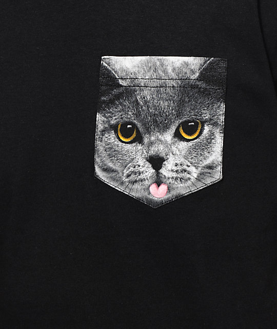 A-Lab Cat On A Pocket camiseta con bolsillo