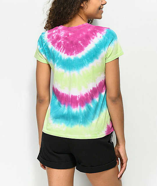A-Lab Ezra Lucky Pink, Blue & Green Tie Dye T-Shirt