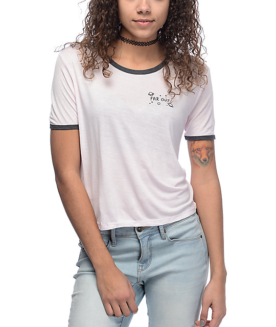 A-Lab Johnny Far Out Pink & Charcoal Ringer T-Shirt