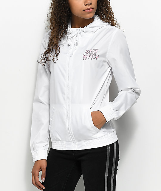A-Lab Kenlie Stay Weird White Zip Up Windbreaker