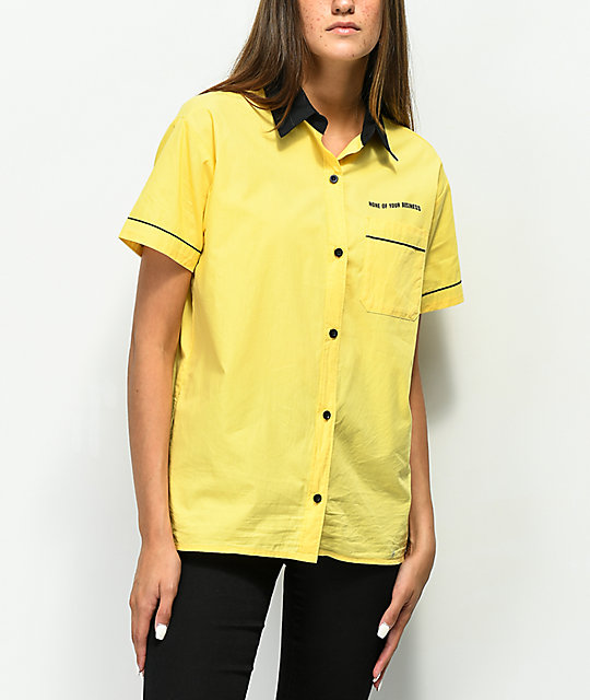 4836b9f236058f ... A-Lab Kilo Yellow Tie Front Button Up Shirt ...
