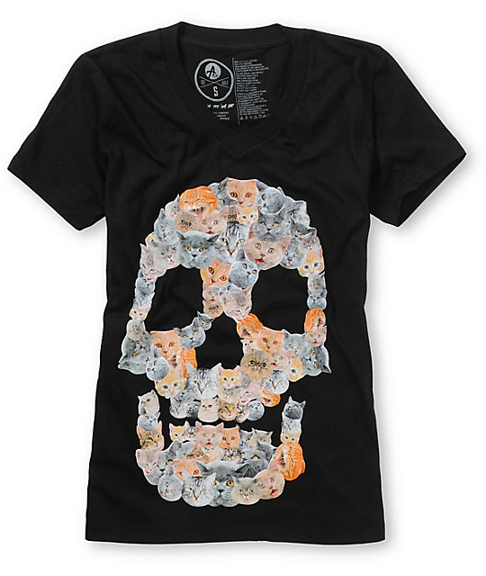 A-Lab Kitty Skull Black V-Neck T-Shirt