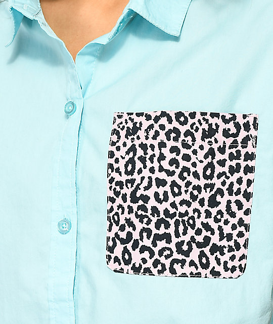 A-Lab Lani Cheetah Crop Short Sleeve Button Up Shirt