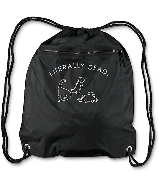 A Lab Literally Dead Black Cinch Bag