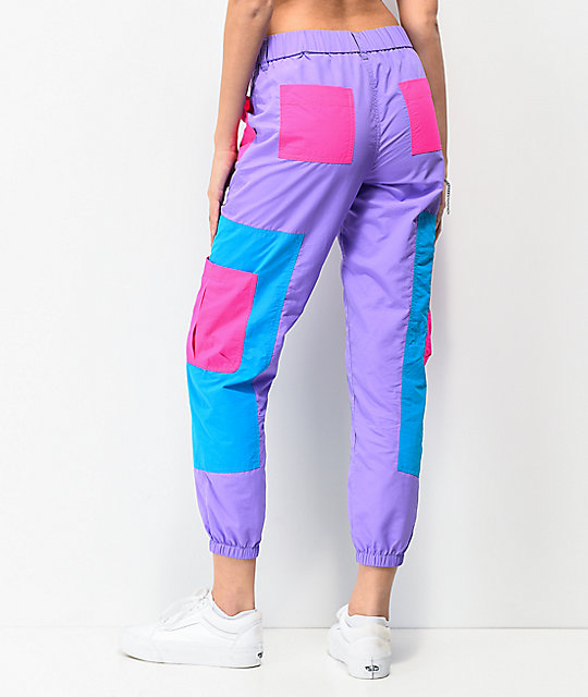 A-Lab Mega Purple & Pink Colorblock Track Pants