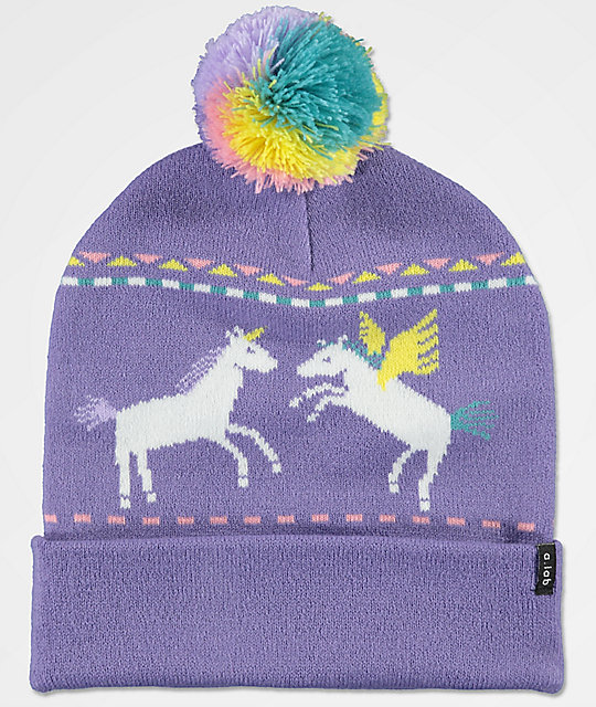A-Lab Mythic Unicorn gorro con pompón en color lavanda