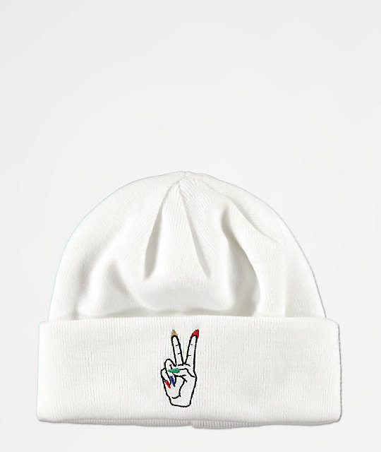A-Lab Nails White Beanie
