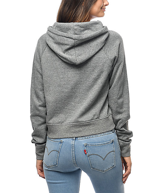 A-Lab Patricia Emjoi Patch Grey Cropped Hoodie