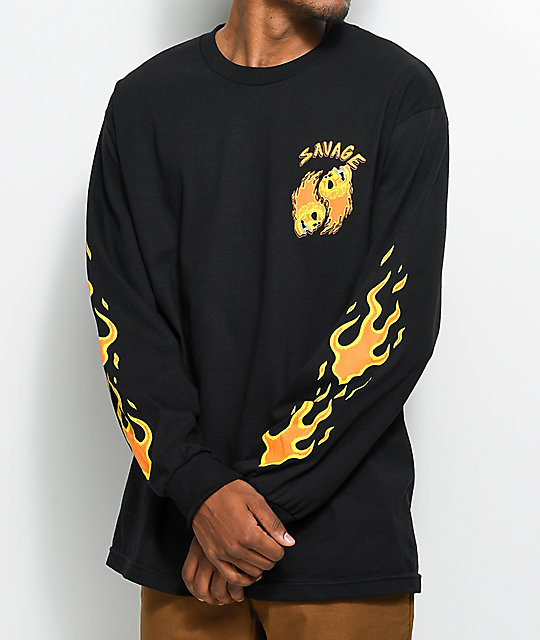 A-Lab Savage Flames Long Sleeve Black T-Shirt