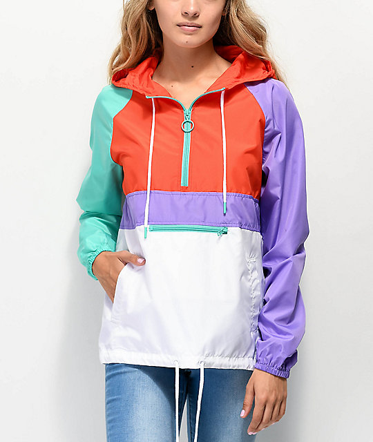 A Lab Shila Red, Turquoise & Purple Anorak Jacket