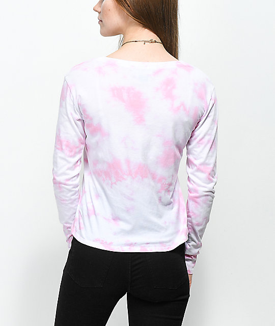A-Lab Tavey Far Out Pink Tie Dye Long Sleeve T-Shirt