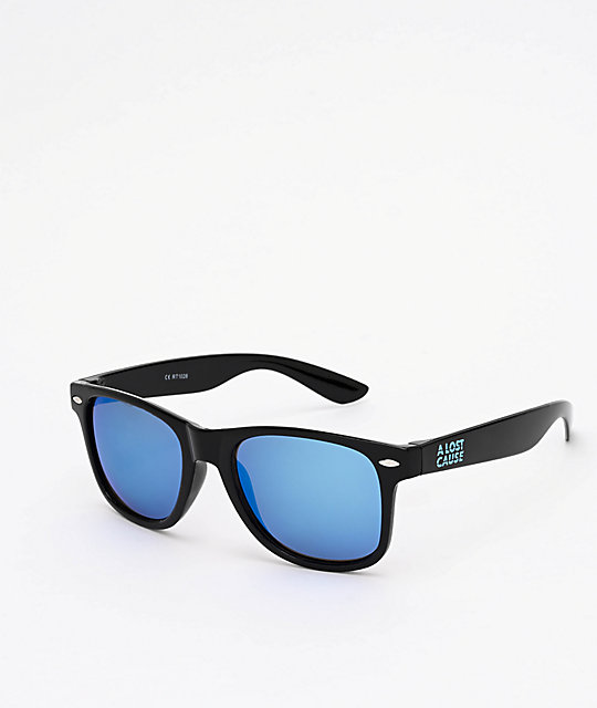 A Lost Cause Brushed Black & Blue Sunglasses