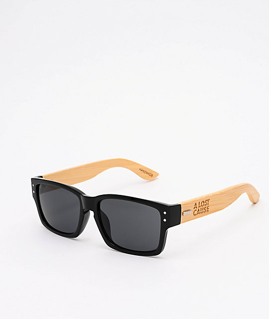 A Lost Cause Eazy Black & Bamboo Sunglasses