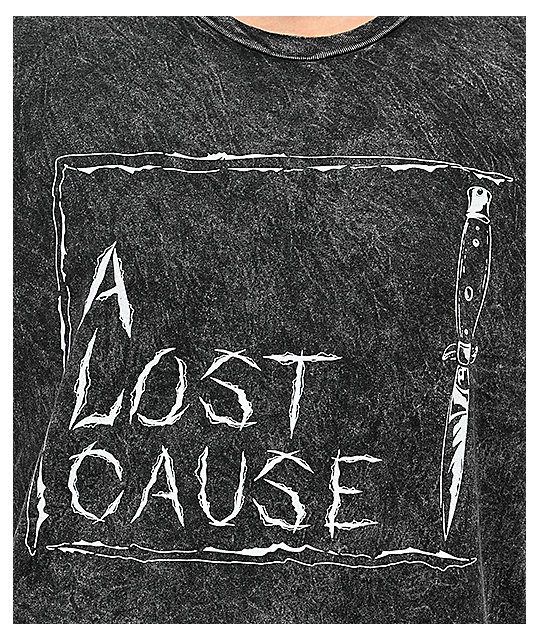 A Lost Cause Slashed Out Acid Black T-Shirt