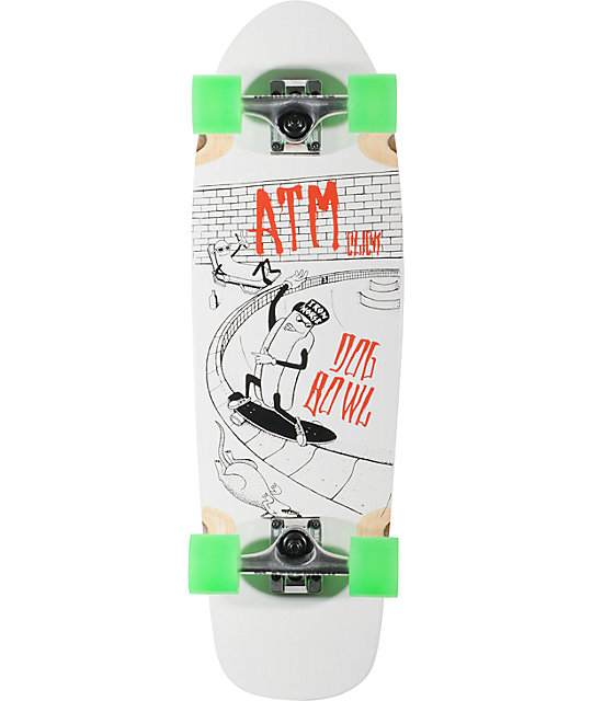 "ATM Dog Bowl 29""  White Complete Cruiser Skateboard"