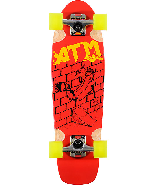 "ATM Hot Dog Red 27""  Complete Cruiser Skateboard"