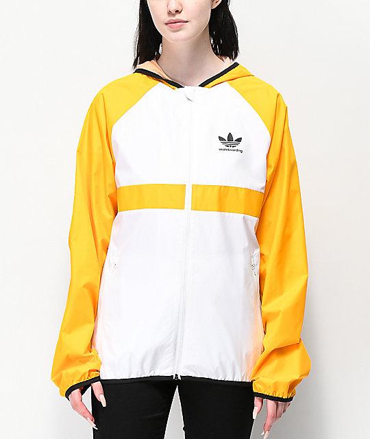 Adidas Skate chaqueta cortavientos naranja y blanca