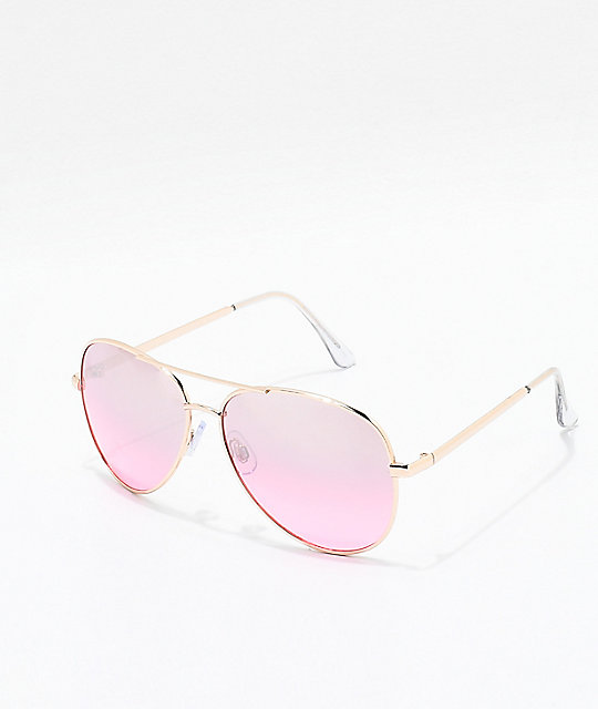 Afterburner Rose & Gold Aviator Sunglasses