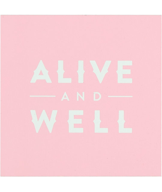 Alive & Well Square Logo Pink Sticker