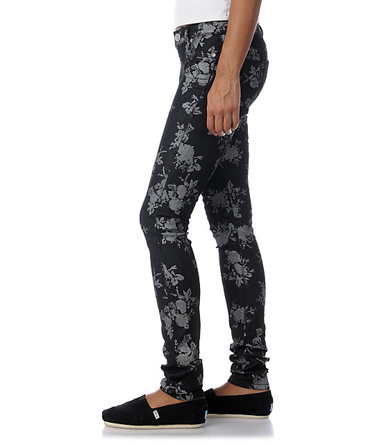 Almost Famous Adrienne Black Floral Skinny Jeans