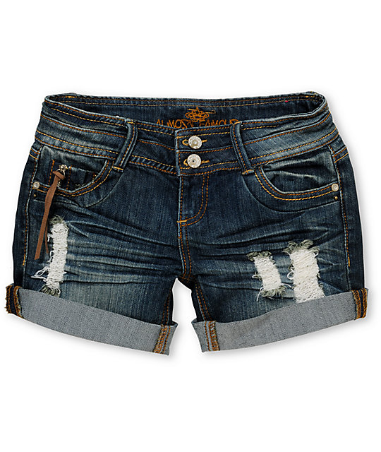 Almost Famous Amanda Blue Rolled Cuff Denim Shorts