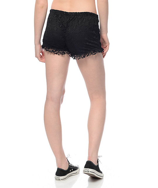 Almost Famous Barri Black Crochet Shorts Zumiez