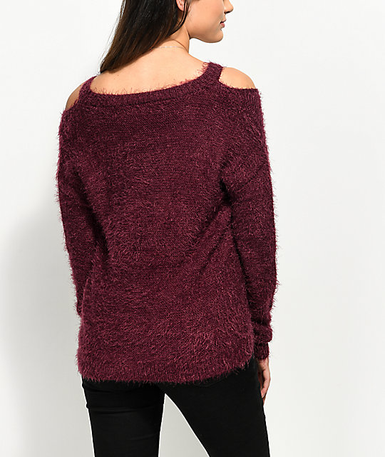 Almost Famous Bea Fuzzy Burgundy Sweater