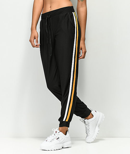 Almost Famous Black & Gold Jogger Sweatpants