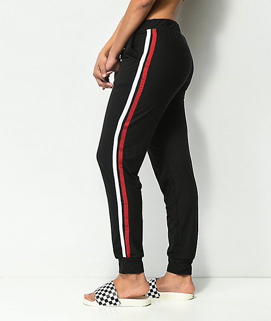 Almost Famous Black & Red Stripe Peached Jogger Pants