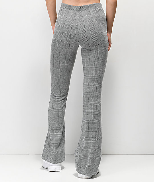 Almost Famous Black & White Plaid Knit Flare Pants