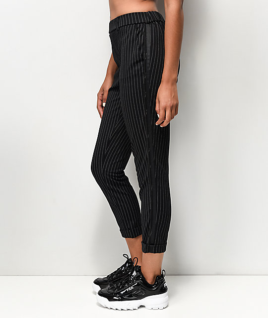 Almost Famous Black & White Stripe Crop Pants