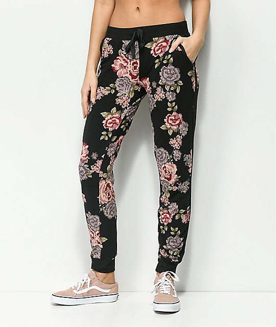Almost Famous Black Floral Jogger Sweatpants