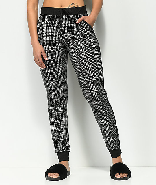 Almost Famous Black Plaid Peached Jogger Pants