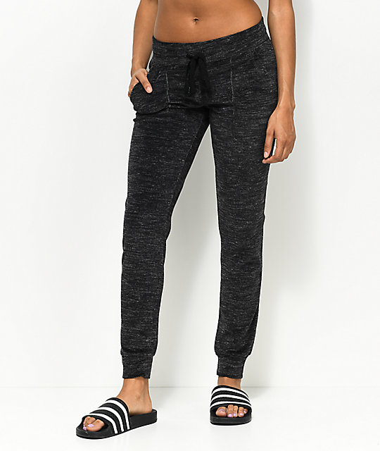 Almost Famous Black Space Dye Jogger Sweatpants