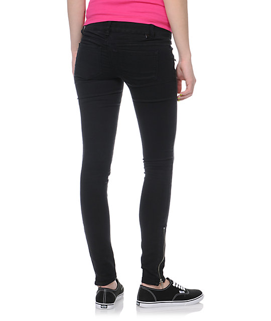Almost Famous Black Zipper Skinny Jeggings