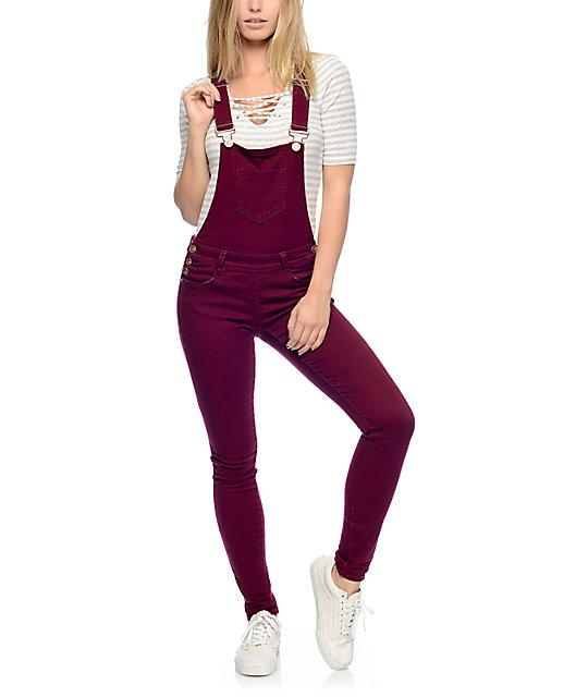 Almost Famous Burgundy Cross Back Overalls