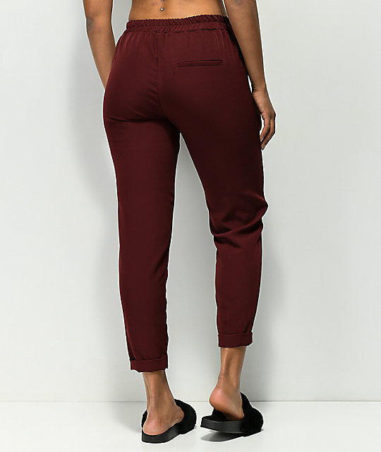 Almost Famous Burgundy Stripe Crop Pants