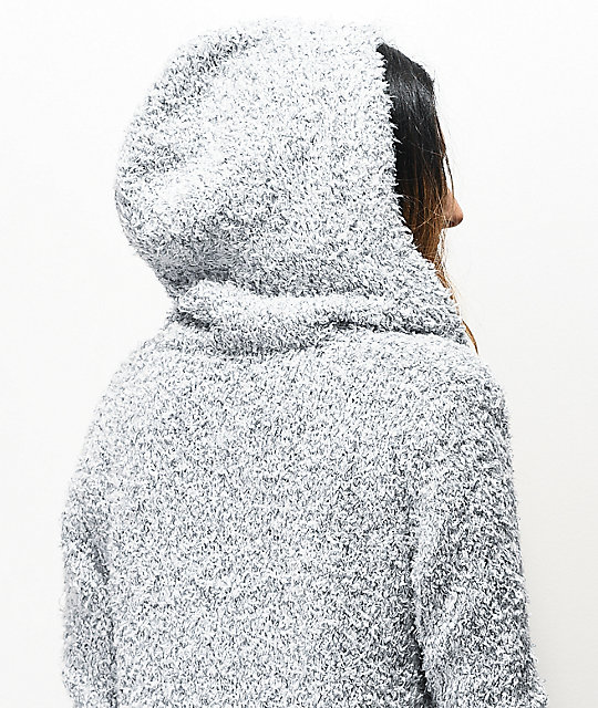 Almost Famous Cardi Sherpa Grey Hooded Cardigan