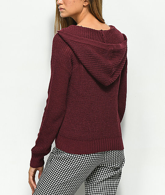 Almost Famous Carly Lace Up Burgundy Hooded Sweater