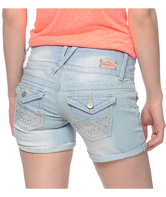 Almost Famous Chloe Light Blue Wash Denim Shorts