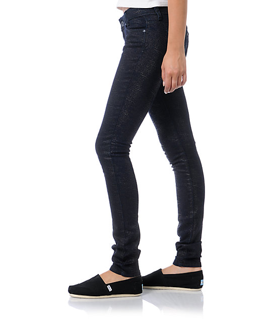 Almost Famous Corrie Navy Blue Animal Print Skinny Jeans