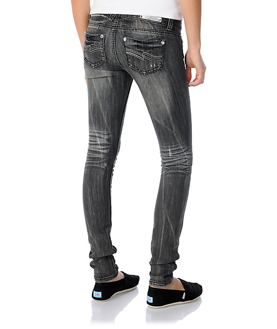 Almost Famous Courtney Black Distressed Skinny Jeans