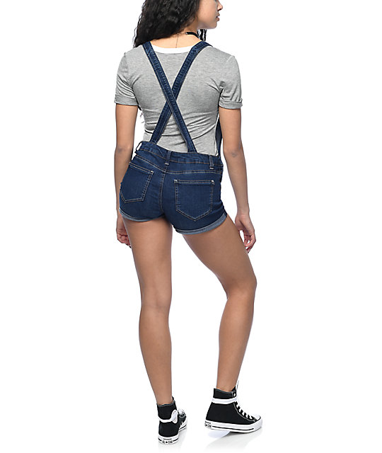 Almost Famous Dark Wash Rolled Cuff Overall Shorts