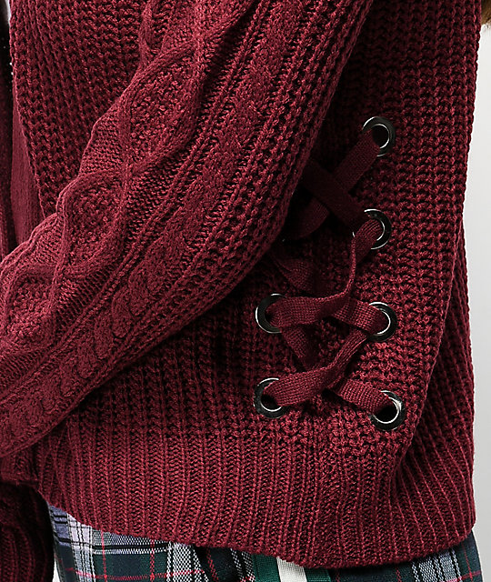 Almost Famous Didi Laced Down Burgundy Cardigan