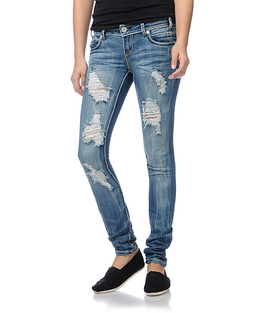 Almost Famous Elle Medium Blue Skinny Jeans