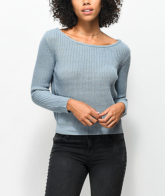 Almost Famous Evie Back Lace Up Ash Blue Sweater